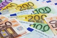 Gewaaide Euro nota's Royalty-vrije Stock Foto