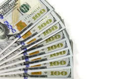 Gewaaide uit Honderd Dollarsrekeningen Royalty-vrije Stock Foto
