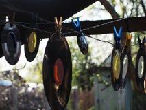 Gewassen verouderd van verslagen vinylschijven stock foto