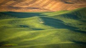 Gewassenstofdoek het dalen pesticide op een tarwegebied in Palouse royalty-vrije stock afbeeldingen