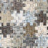 Gewatteerd patroon met grunge gestreepte en geruite vierkante elementen Stock Afbeeldingen