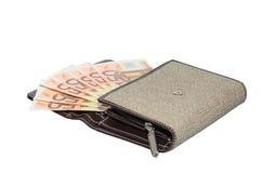 Geldbeutelgeldbörse der lokalisierten Gewebefrauen mit 50 Eurobanknoten Lizenzfreies Stockbild