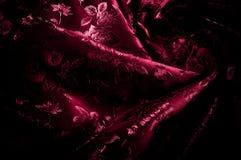 Gewebe, Hintergrundbeschaffenheit silk rotes Gewebe mit einem Muster von Florida Lizenzfreie Stockfotos