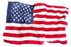 Gewebe kräuselte die amerikanische Flagge, die auf Weiß lokalisiert wurde Lizenzfreie Stockbilder