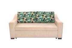 Gewebe Sofa Bed mit Farbbeige lokalisiert stockfoto