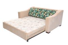 Gewebe Sofa Bed mit Farbbeige lokalisiert lizenzfreies stockbild