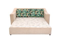 Gewebe Sofa Bed mit Farbbeige lokalisiert stockbild