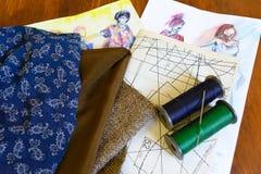 Gewebe, Threads, Nadel, Zeichnungen, Entwürfe, Muster Lizenzfreie Stockbilder