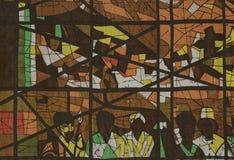 Gewebeeindruck als Stained-glassfenster. Stockfotos