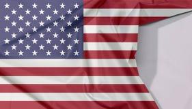 Gewebeflaggenkrepp und -falte der Vereinigten Staaten von Amerika mit Leerraum stockfotos