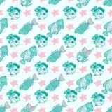 Gewebetextilnahtloses Muster mit Seefischen Stockfotos