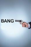 Gewehr mit dem Text, der Knall sagt stockfoto