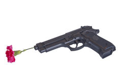 Gewehr mit einer Blume Stockfotografie