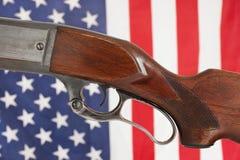 Gewehr und Flagge Stockfotografie