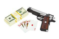 Gewehrgeld und Spielkarten Lizenzfreies Stockbild