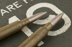 Gewehrkugeln auf einem Kasten Lizenzfreie Stockbilder