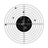 Gewehrziel mit Einschussloch-Vektorillustration Stockbilder