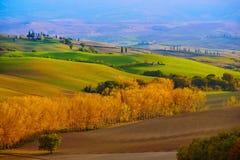 Gewellte Felder in Toskana Lizenzfreies Stockfoto
