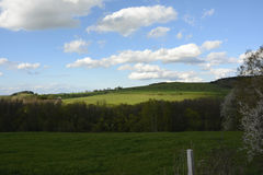 Gewellte Landschaft mit Bäumen und Wiesen, Tschechische Republik, Europa stockfoto
