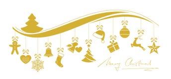 Gewellte Weihnachtsgrenze mit einem Satz hängenden Verzierungen Stockfoto