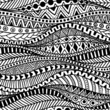 Gewelltes nahtloses ethnisches Muster Schwarzweiss-Druck für Gewebe vektor abbildung
