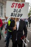 Gewerkschaftler während einer Demonstration in Warschau - Polen Stockfotografie