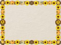 Geweven achtergrond met herfstkader van zonnebloemen en pumpki stock foto