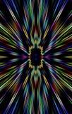 Geweven donkere kleurrijke achtergrond De stroken divergeren van het midden aan de randen stock illustratie
