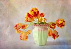 Geweven Foto van Bloemenstilleven Royalty-vrije Stock Afbeeldingen