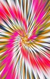 Geweven heldere kleurrijke achtergrond De stroken en de vlekken divergeren van het midden in een spiraal aan de randen vector illustratie