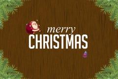Geweven houten achtergrond met Kerstmis Stock Foto
