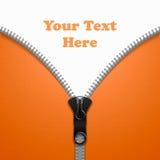 Geweven, oranje achtergrond voor de tekst in de vorm van een kledingstukritssluiting Royalty-vrije Stock Foto