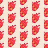 Geweven rood de anatomieorgaan van het harthand getrokken naadloos patroon op lichte doopvont vector illustratie