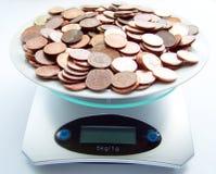 Gewicht Geld Stockfoto