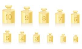 Gewicht häuft Goldskala an Stockbilder