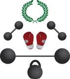 Gewichten en bokserhandschoenen Royalty-vrije Stock Fotografie