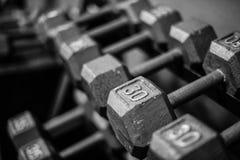 Gewichten op rek stock afbeeldingen