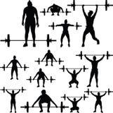 Gewichthebenschattenbild lizenzfreie stockfotografie