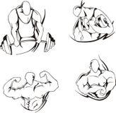Gewichtheffen en het bodybuilding Stock Foto
