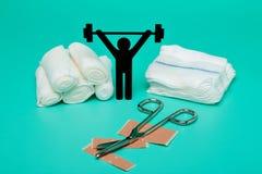 Gewichtheffenpictogram, het broodje van het pleisterverband en schaar stock afbeelding