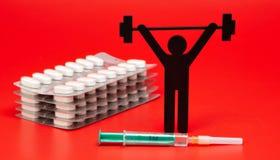 Gewichtheffenpictogram met pillen, meetlint stock foto