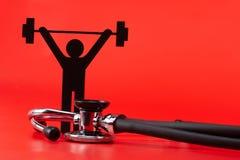 Gewichtheffenpictogram, Stethoscoop, geïsoleerd close-up stock afbeelding