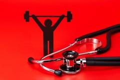 Gewichtheffenpictogram, Stethoscoop, geïsoleerd close-up royalty-vrije stock foto