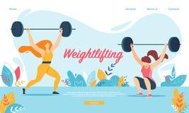 Gewichtheffensport Vrouwen die met Gewicht hurken, stock illustratie