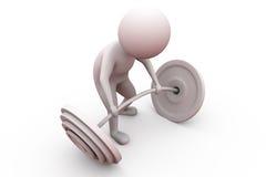Gewichts-Aufzugkonzept des Mannes 3d Lizenzfreies Stockfoto