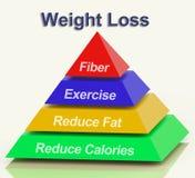 Gewichts-Verlust-Pyramide, die Faser-Übungs-Fett und Kalorien zeigt Stockbilder
