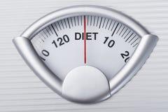 Gewichtsschaal die op dieet wijzen stock afbeelding