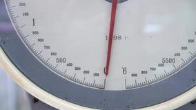 Gewichtsschaal in markt stock video