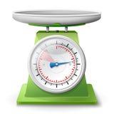 Gewichtsskala auf weißem Hintergrund Stockfotos