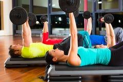 Gewichtstraining in der Turnhalle mit Dumbbells Stockbild